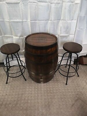 Whiskey barrel  with bar  stools oak  table, man cave  DELIVERY UK £25