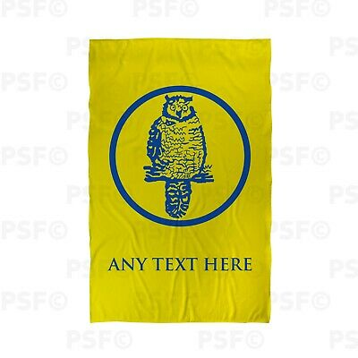 Leeds United FC Official Personalised Yellow LUFC Retro Owl Beach Towel LBT023