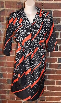 Vintage 80s Belted Dress - Red, Black & White - to suit Size 10/12 - EUC
