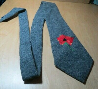 Rare Vintage Mary Quant Tie Embroidered Poppy Design