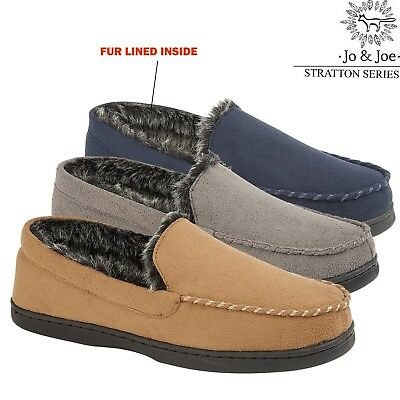 Mens Moccasins Warm Faux Suede War, Fur Lined Winter Loafers Slippers Shoe Size