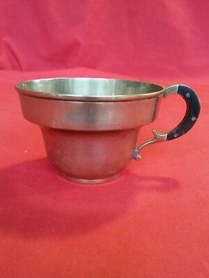 Vintage OR Antique Brass Old  Teacup TEA CUP WITH WOOD CLAD HANDLE