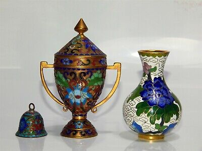 Collection of three Vintage Chinese Cloisonne Pieces - Vase, Urn with lid & Bell