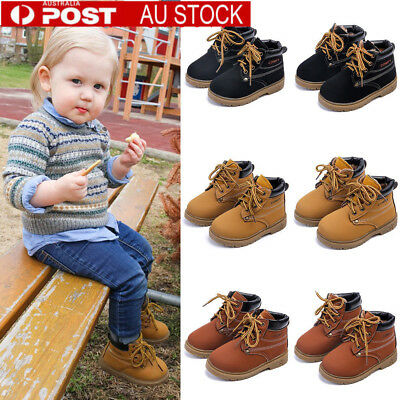 AU Kids Boy Girl Winter Warm Desert Ankle Boots Trainer Hi Top Infant Shoes Size