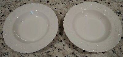 "Two Wedgwood Polo Ralph Lauren CLAIRE White Soup Bowls 9 1/4"" Made in England"