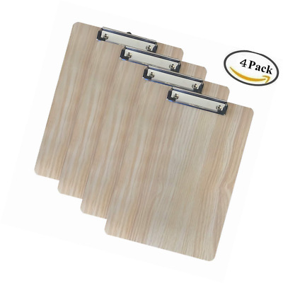 Pack of 4 A4 Quality Wooden clipboard Writing Board Heavy clamp with Hanging Hol