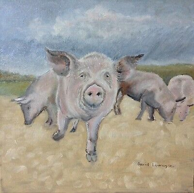 Pigs - Original Oil on Canvas Board 8 x 8 inches by David Laurence