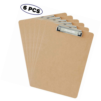 6 x Professional Quality A4 Duraboard Clipboards with Sturdy Spring-Loaded Grip
