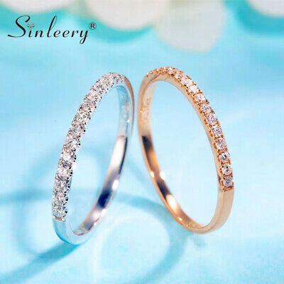Simple Tiny Crystal Round Wedding Rings White Rose Gold Plated Fashion Jewelry