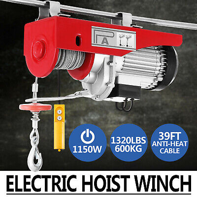 1320Lbs Electric Hoist Winch Lifting Engine Crane High Carbon Motor Double Line
