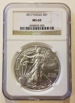 2017 1oz American Silver Eagle NGC MS69 Cert# 4558932-050