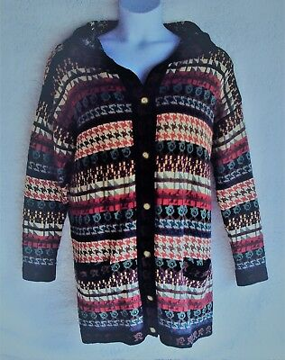 f8f606a163 Express Tricot Womens Cardigan Sweater Sz Medium Button up Hooded Patch  Pockets
