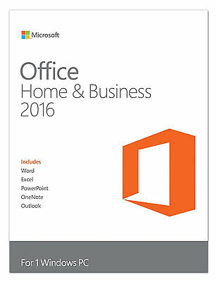 Microsoft Office Home and Business 2016 - 1 Windows PC ⭐⭐⭐⭐⭐ Genuine License ✅