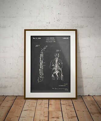 Soprano Saxophone Patent Print, Music Instrument Art Poster, Gift for Jazzman