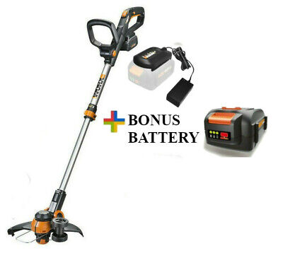 "WORX WG180 40V Powershare 12"" Cordless String Trimmer / Edger + Bonus Battery"