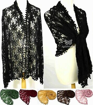 Large Maxi Floral Lace POM POM Fringe Jersey Plain Scarf Hijab Shawl Stretch Big