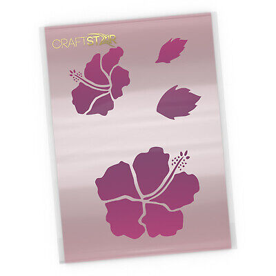 Hibiscus Flower Stencil Set - Tropical Flowers and Leaves Template by CraftStar