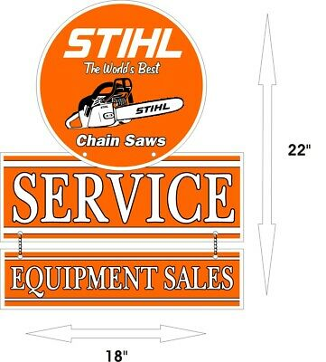"STIHL World's Best Chain saw Sales Service Aluminum Vintage 22"" x 18"" Sign"