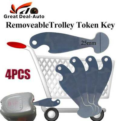 4PCS Shopping Retractable Shopping Trolley Token Key Coles Woolworths NO Coin