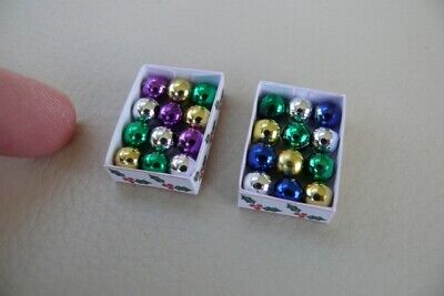 1/12th dolls house - BOXES OF CHRISTMAS BAUBLES - SG