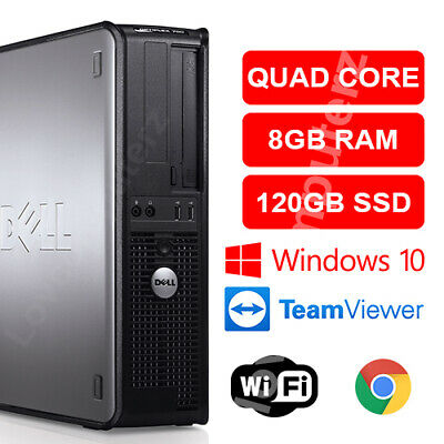 Fast Dell Quad Core Pc Computer Desktop Tower Windows 10 Wifi 8Gb Ram 120Gb Ssd