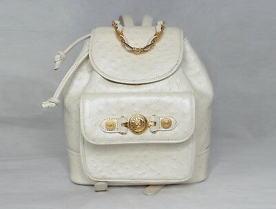 7dd4e8f97dab GIANNI VERSACE shoulder backpack ostrich leather pearl white gold messenger  bag
