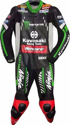 KAWASAKI Moto Gp MOTORBIKE COMPLETE LEATHER SUIT - CE APPROVED FULL PROTECTION