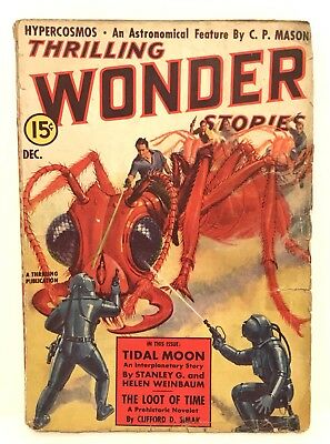 Thrilling Wonder Stories US vintage Sci Fi Pulp Comic Dec. 1938 Iconic Ant Cover