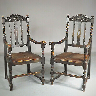 Oak Throne Chairs (delivery £50) Jacobean Carolean Revival Carving Pair