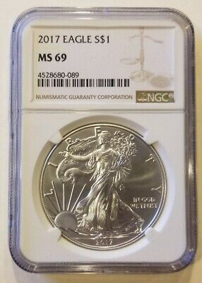 2017 1oz American Silver Eagle NGC MS69 Cert# 4528680-089