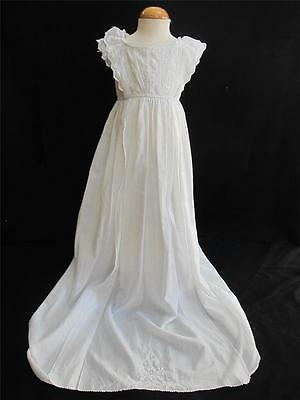 Antique Victorian Ayrshire Embroidered Whitework Christening Gown Dress