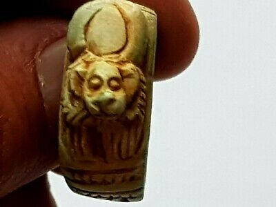 Exeptional Rare Ancient Egyptian Ring With Animal Figure 10.9 Gr.22 Mm