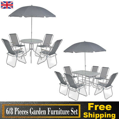 Garden Patio Furniture Set 6/8 Piece Outdoor Dining Table Chair Seat Parasol Hot