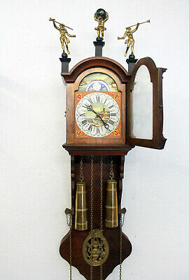 *Old Wall Clock Friesian Dutch Schippertje Clock Vintage with Moonphase Warmink