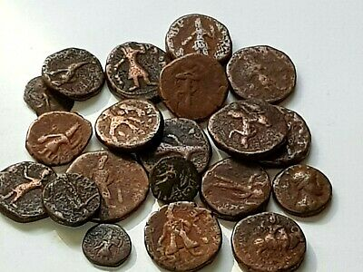 Exeptional Unknow Unsearch Lot Of 20 Ancient Bronze Indo Greek Coins Very Intere