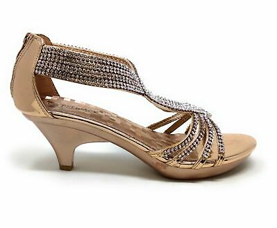 f928708a4fa Delicacy Womens Angel-37 Strappy Rhinestone Dress Sandal Low Heel Shoes  Size 8.5