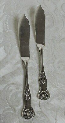 Vintage coppia coltelli pesce Sheffield EPNS decoro King Pair Fish Knives