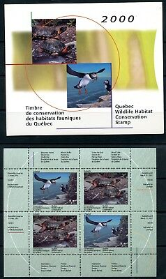 Weeda Quebec QW13A VF MNH panes 2000 Wildlife Conservation Stamp issue CV $115