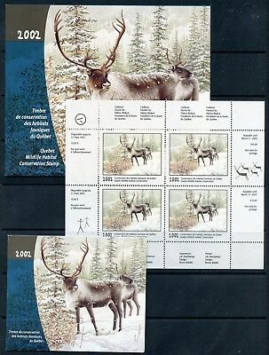 Weeda Quebec QW15 VF MNH panes 2002 Wildlife Conservation Stamp issue CV $115