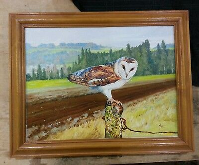 BARN OWL ,PRINT FROM AN ORIGINAL OIL PAINTING, FRAMED SIZE  48.5 x 38 cm