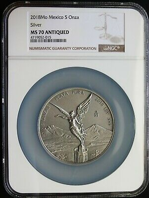 Mexico 5 oz. Silver Libertad 2018 ANTIQUED, NGC MS70. NEW RELEASE!