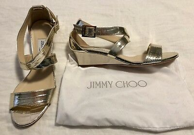 cceedd59901a New Jimmy Choo Chiara Embossed Leather Wedge Sandals Gold Size US7.5 EU37.