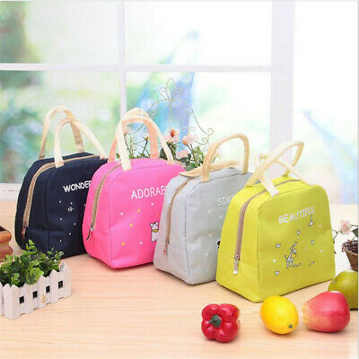 Cute Cartoon Insulated Thermal Bento Lunch Box Bag Tote Portable Foldable LH