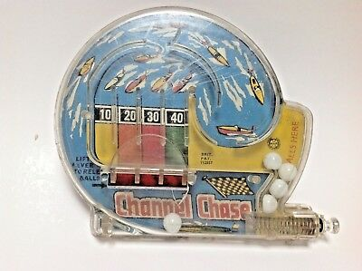 Vintage Toy Channel Chase Pinball Style Game With Tin Plate Back Working Order++