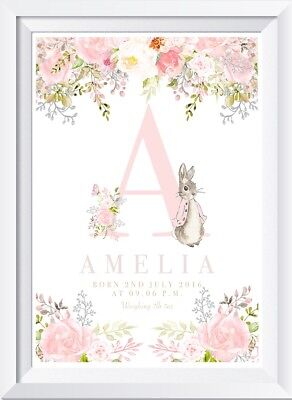 Personalised baby child Peter Rabbit print picture gift nursery art name wallet