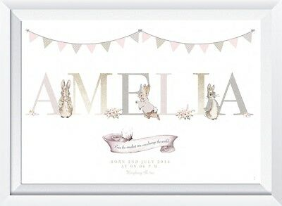 Personalised baby child name print Peter Rabbit gift christening nursery picture
