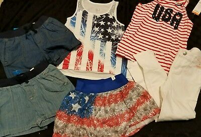 NWT/NWOT GIRLS 6PC SPRING/SUMMER LOT SZ 6/6x/7 - JUSTICE - GYMBOREE 4th of July