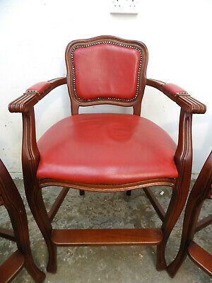 vintage,high back,wooden,red,leather,bar stool,cabriole legs,arms,stool