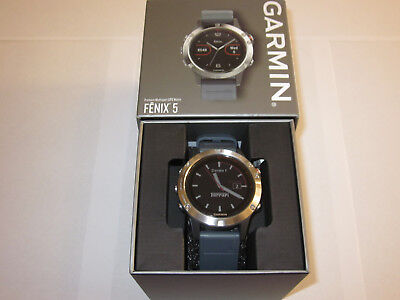 Garmin Fenix 5 Multisport GPS Smartwatch Large 47mm Silver/Granite Blue
