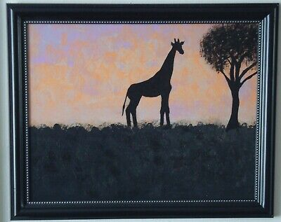 """Giraffe At Sunset"" acrylic painting original signed by Carla Dancey"
